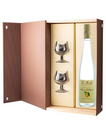 Coffret eau-de-vie Poire Williams Grande Réserve + 2 verres - G.Miclo