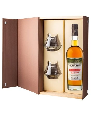 Coffret Welche's Whisky Single Malt Fine Tourbe + 2 verres - G.Miclo